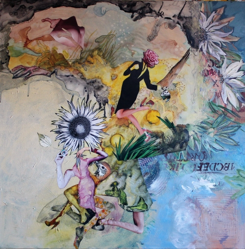 Private Mythologies acrylic, watercolor ink, photo/collage on Mylar/canvas