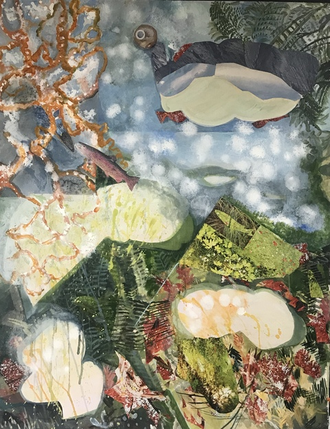 Nano Seaweed/Lunar Phase Series on canvas & paper acrylic, watercolor ink, photo/collage on 300 lb. Arches hand molded paper