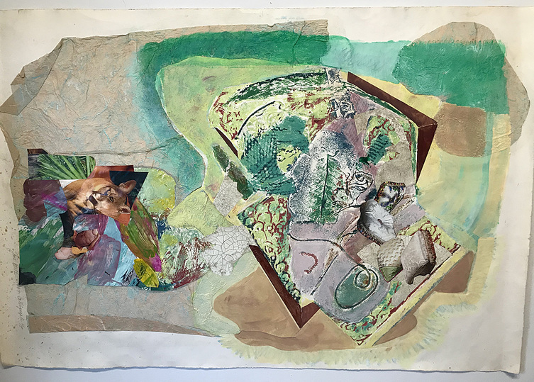 Jane Dell             Works On Paper acrylic,collograph print, collage on paper