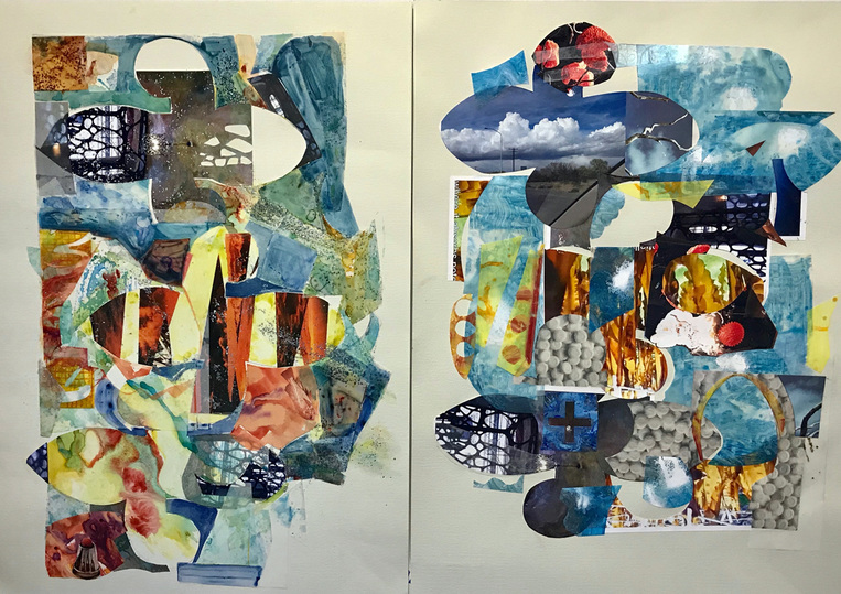 Jane Dell             Works On Paper acrylic on Mylar, watercolor ink, marker, glitter, photo collage