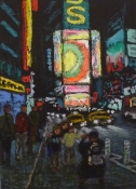 Jane Dickson Times Square & The City at Night Oilstick on paper