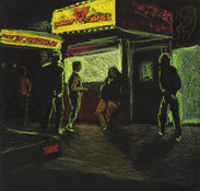 Jane Dickson Times Square & The City at Night Oilstick