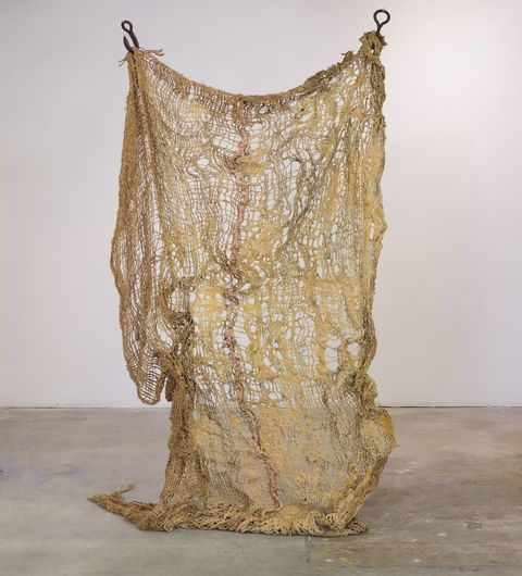 jane hugentober 2016 in the beginning, in the garment-fold jute, wool, oil, silk, latex and found vintage meat hooks