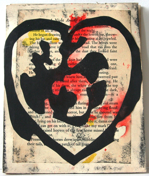 Janell O'Rourke Heart collage, gouache, ink on paper