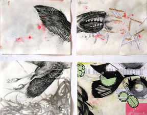 Janell O'Rourke Small Fury and other hybrid creatures ink, charcoal and collage on paper