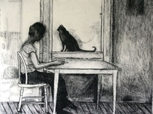 Janell O'Rourke Housekeeping charcoal on paper