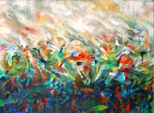 Janell O'Rourke Abstract Landscapes oil on canvas