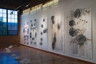 Jane McMahan Life Like a Loaded Gun Rice Paper Panels and Clay Pigeons