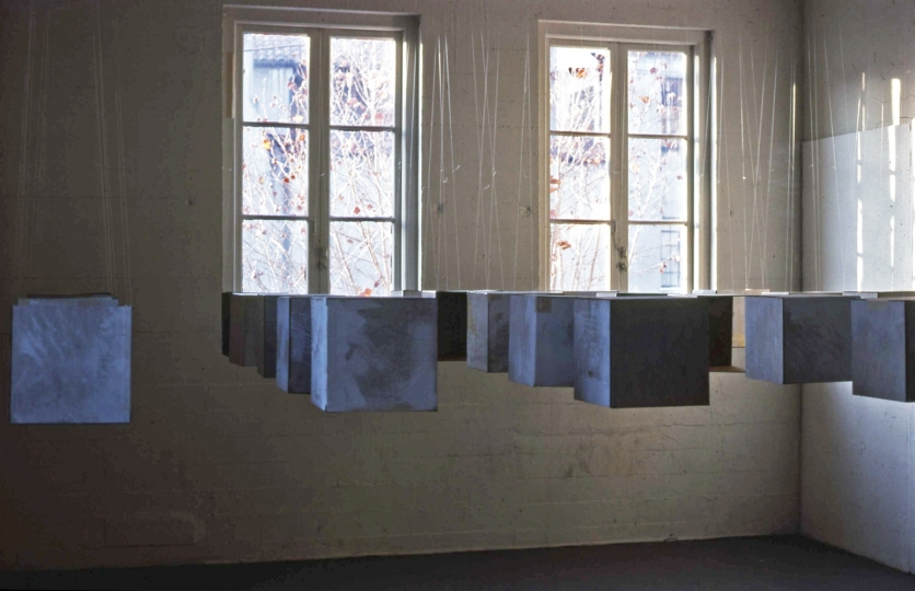 Janet Goleas Installations corrugated board, latex paint