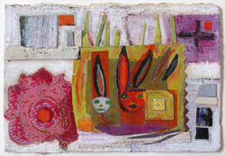 JANET MATHIAS Paintings & Mixed Media collage, fabric and acrylic on paper
