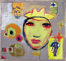 JANET MATHIAS Paintings & Mixed Media acrylic and paper, collage on canvas