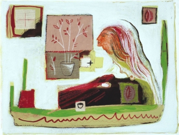 JANET MATHIAS COLLAGE acrylic paint, pencil, ink and fabric on paper