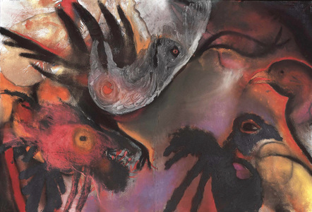 JAN HARRISON Pastel/Paper Paintings 1993-2021   Animals in the Anthropocene    pastel, charcoal and oilstick on rag paper