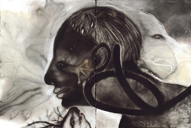 JAN HARRISON Early Charcoal/Paper Drawings  charcoal, gouache and pastel on rag paper