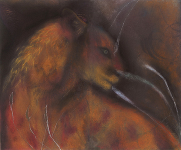 JAN HARRISON Pastel/Paper Paintings 1993-2019   Animals in the Anthropocene    pastel, ink, oilstick, and colorpencil on rag paper