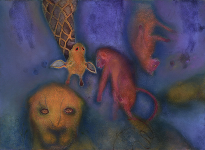 JAN HARRISON Pastel/Paper Paintings 1993-2019   Animals in the Anthropocene    pastel, ink, colorpencil, charcoal, oilstick on rag paper