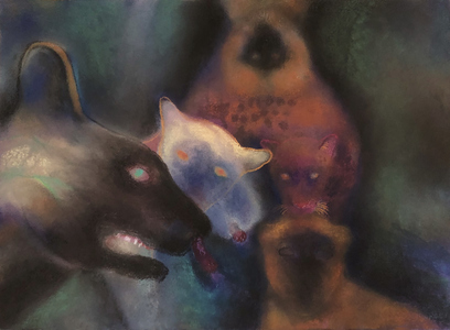 JAN HARRISON Pastel/Paper Paintings 1993-2020   Animals in the Anthropocene    pastel, ink, colorpencil, oilstick, and charcoal on rag paper