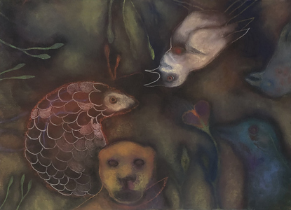 JAN HARRISON Pastel/Paper Paintings 1993-2020   Animals in the Anthropocene    pastel, ink, colorpencil, and charcoal on rag paper