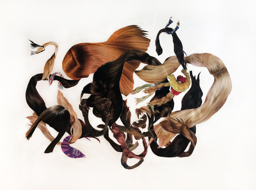 JANICE SLOANE Hair  collages 2020 magazine clipping, acrylic on acid free paper