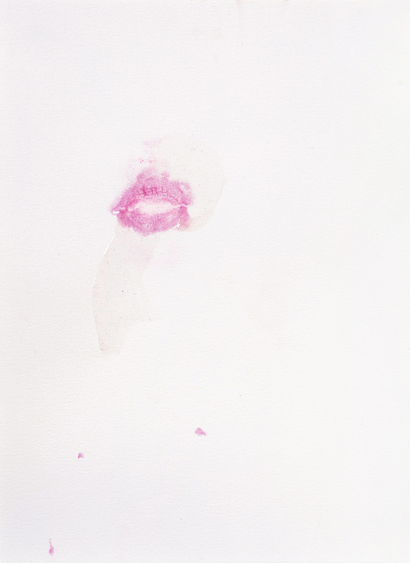 JANICE SLOANE This Could Be You -Lipstick mouth prints 2021 lipstick mouth print, acrylic on paper