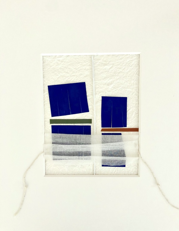 JANICE STANTON PAUSE SERIES 2020 textured papers, gauze, string, painted bamboo stick