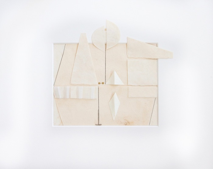 JANICE STANTON INSPIRED BY SCULPTURE parchment and handmade papers, gauze, graphite, upholstery pin, metallic ink