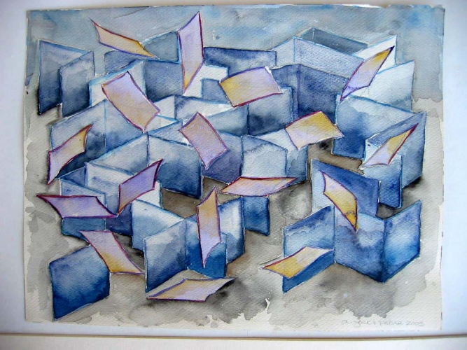 Janina Ciezadlo House of Cards watercolor