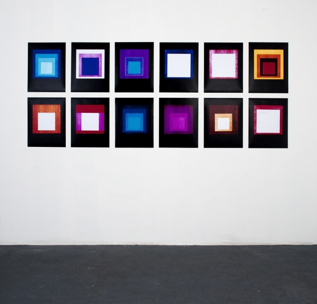 JASON KALOGIROS 2010 12 color photograms (install view)