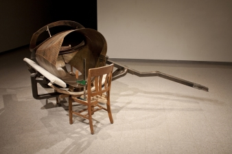 Sculpture Steel, Wood, Wooden Chairs, Carpet, Clamp, Stick