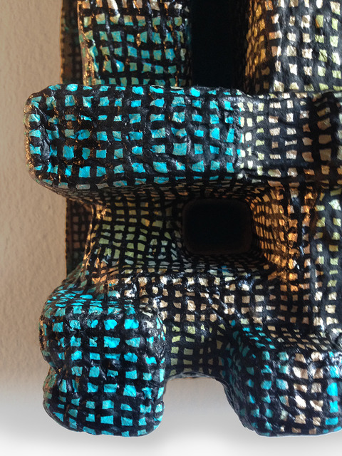 PAINTED SCULPTURE acrylic paint on packing material
