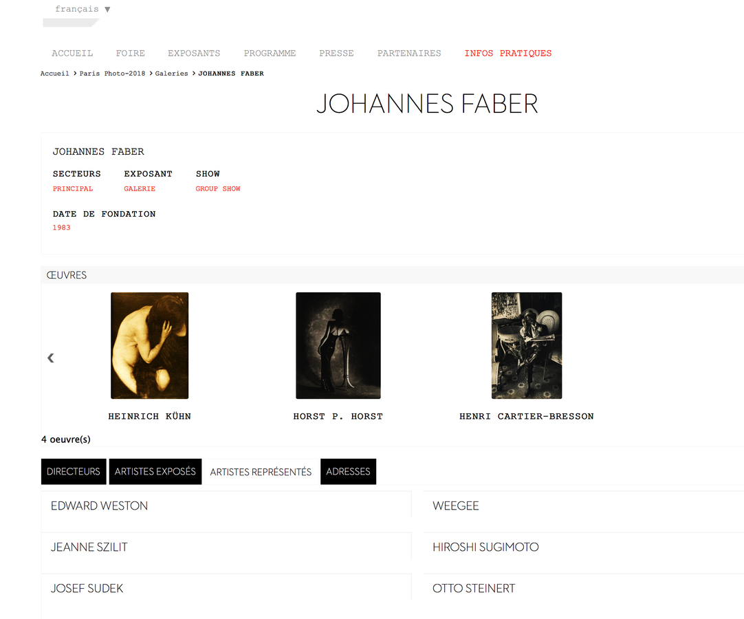 News My representation Page at Galerie Johannes Faber, PARIS PHOTO 2018