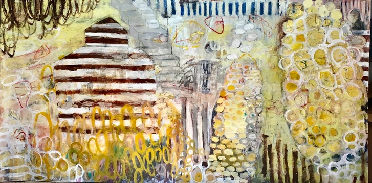 Jean Sheckler Beebe Seed Corn Acrylic paint and collage on paper