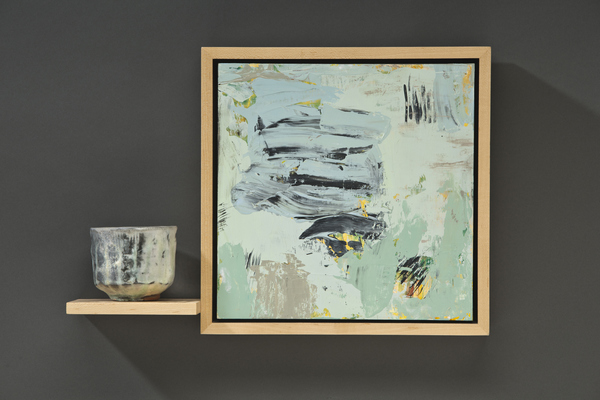 Jean Sheckler Beebe Collaborations Painting/ Tea Bowl/ Haiku