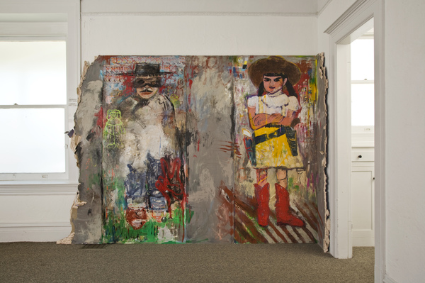Jean Sheckler Beebe Urban Art Mixed Media on doors with dry wall and concrete