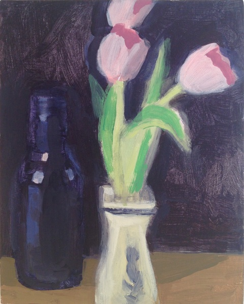 painting Tulips and blue bottle still life
