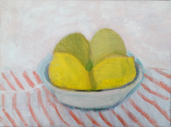 painting Lemons with striped tablecloth