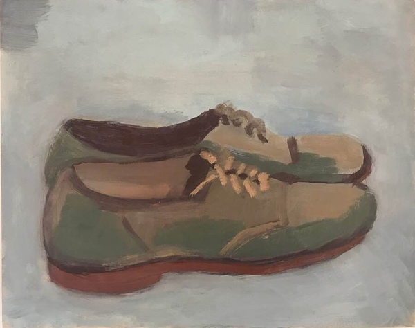 painting Dad's shoes