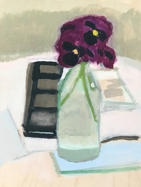 painting Purple and black pansy still life