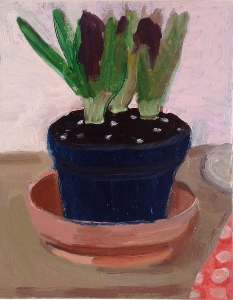 painting Purple hyacinth in bud