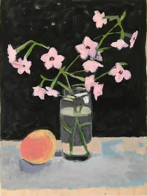 Jean Smith Flowers Acrylic gouache on wood panel