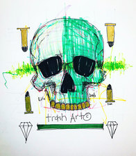 Jeff Green Trash Art Mixed media on paper