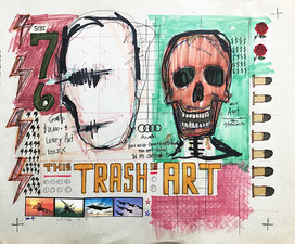 Jeff Green Trash Art mixed media on vintage recycled newsprint