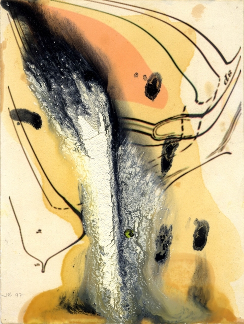 JEFFREY BISHOP CASCADE Oil and Ink on Paper