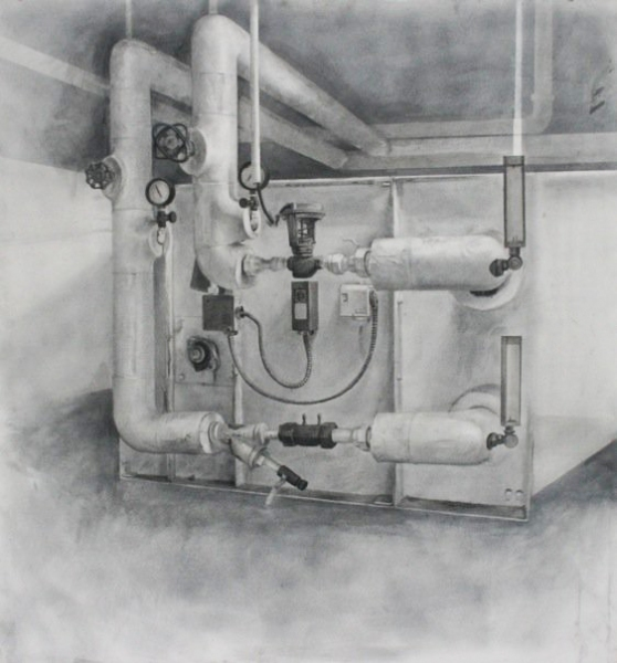 Jeff Ellse drawing Graphite, Ink wash and Charcoal on Mat board