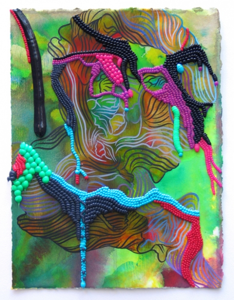Works on Paper acrylic, oil, and pigmented silicone on papaer