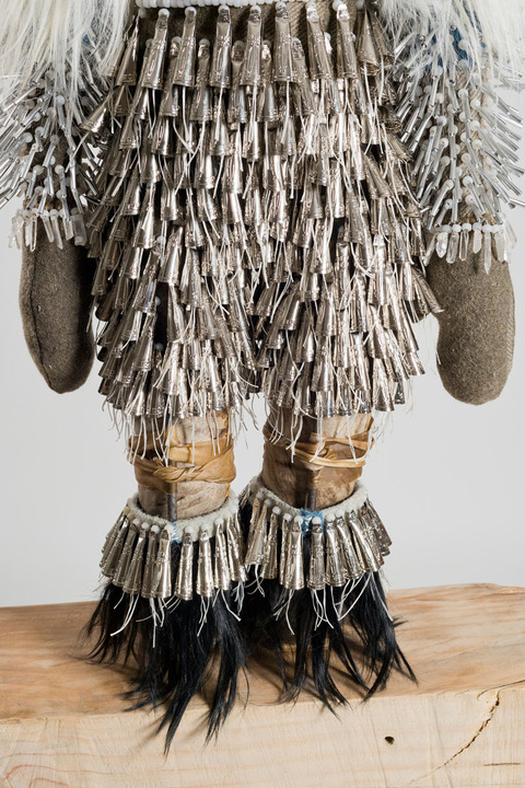 No Simple Word For Time Materials: wool army blanket, glass beads, rawhide, Mongolian goat fur, quartz crystals, tin jingles, artificial sinew, nylon thread, metal wire, steel rod, aspen wood base
