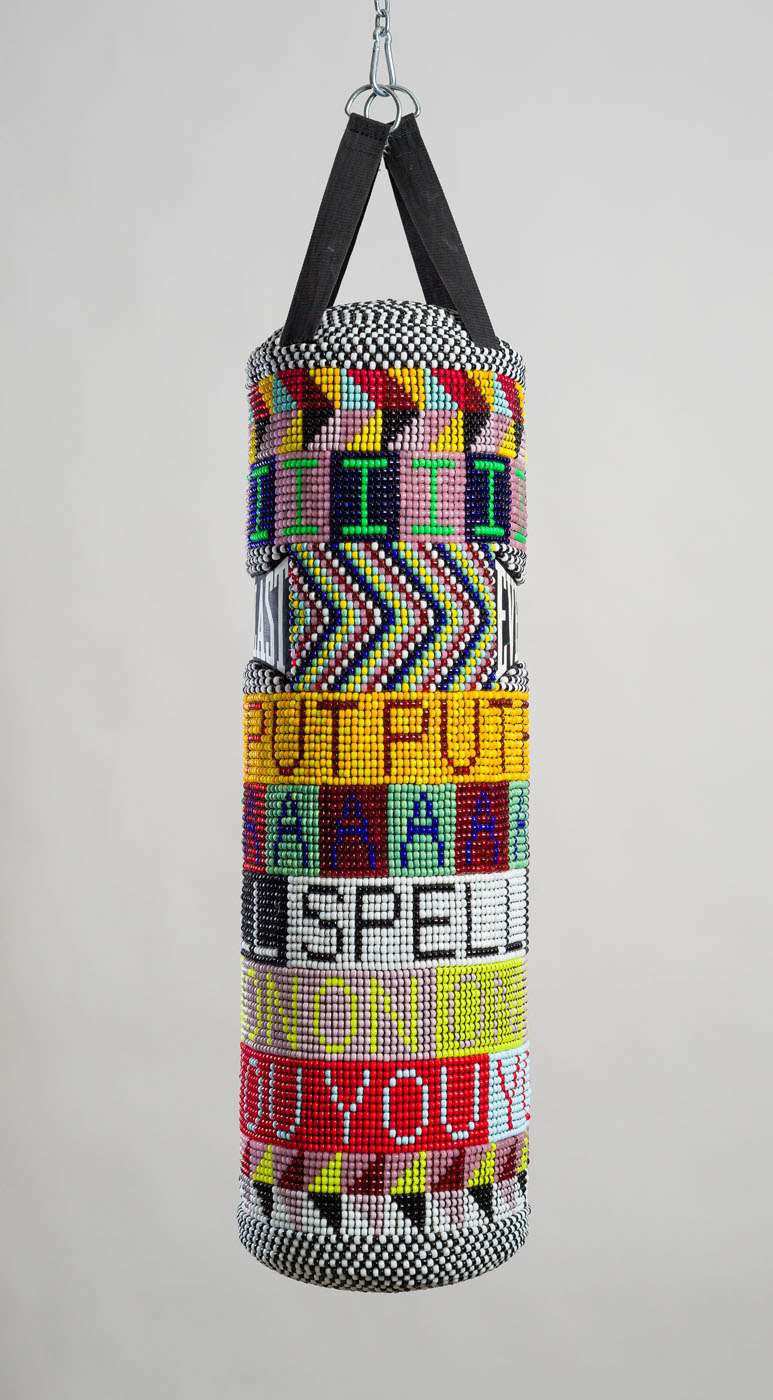 I PUT A SPELL ON YOU repurposed wool army blanket, found punching bag, glass beads, plastic beads