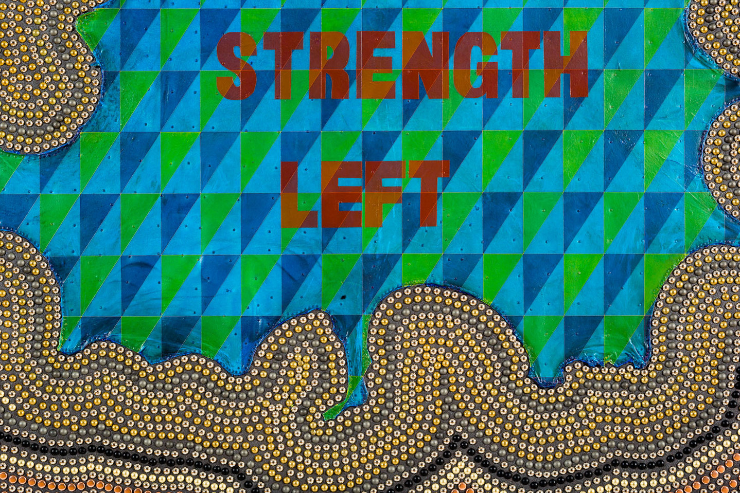 I HAVE STRENGTH LEFT Rawhide, acrylic, graphite, metal tacks, canvas, over wood panel