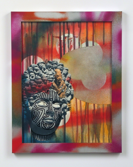 Works on Paper found printed images, acrylic and spray paint on paper in artist frame