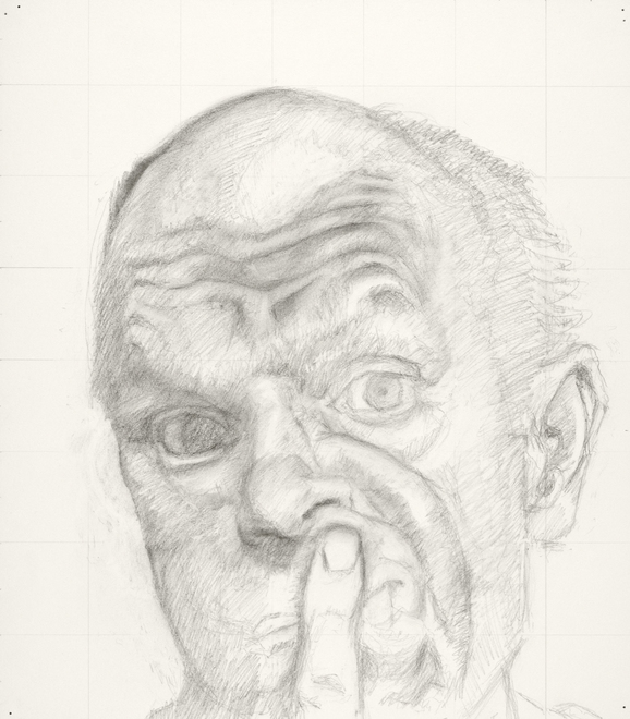 Self-portrait drawings Study of head and index finger (IFPM)